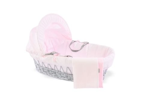 Wicker Moses Basket in Grey - Cotton Dream Pink